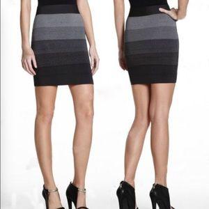 BCBGMaxazria Gray Combo Gradient Bandage Skirt